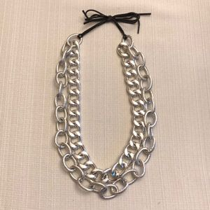 Jewelry - Double Layer Silver Chunky & Textured Necklace